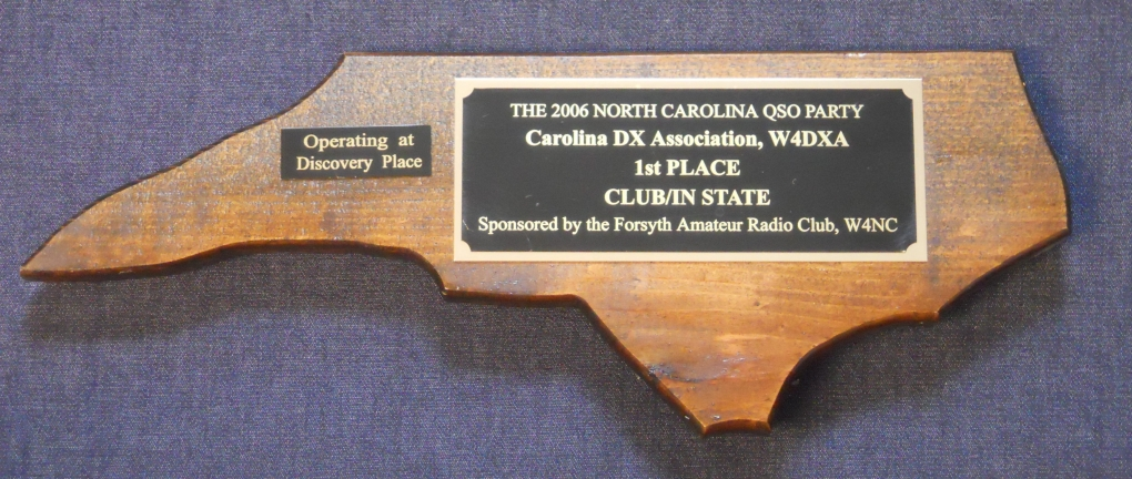 NC QSO Party 2006 Plaque