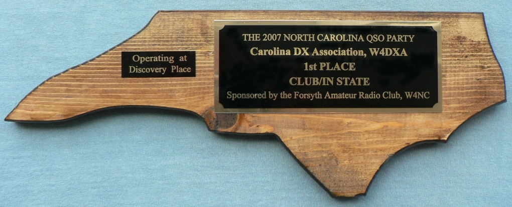 NC QSO Party 2007 Plaque